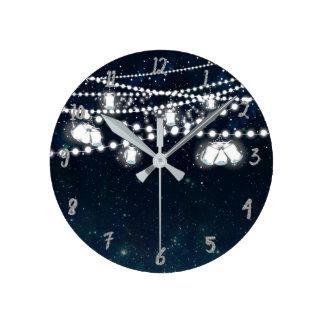 Mason Jars & Lights Night Evening Starry Sky Round Clock