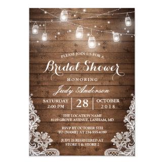 Mason Jars Lights Rustic Wood Lace Bridal Shower 13 Cm X 18 Cm Invitation Card