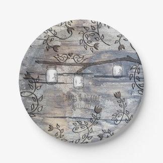 Mason Jars & Love Birds Rustic Branch Wedding Paper Plate