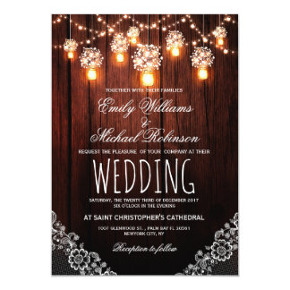 Mason Jars String Lights Elegant Rustic Wedding Card