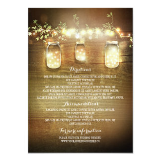 Mason Jars String Lights Wedding Information Cards