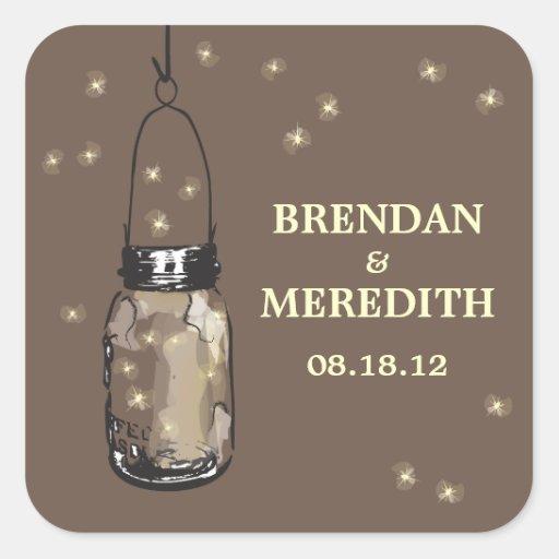 Mason Jars with fireflies Wedding Stickers