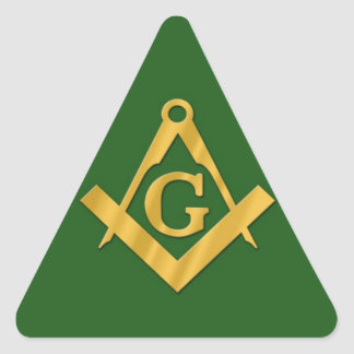 Mason Masonic on Green Triangle Sticker