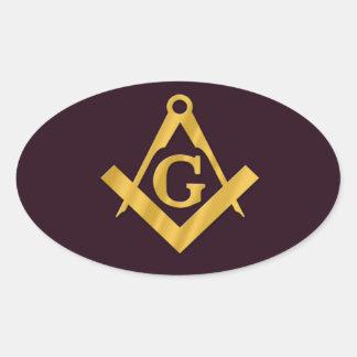 Mason Masonic Product on Brown Oval Sticker