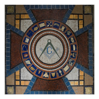 Masonic Floor Tiled Mosaic Poster