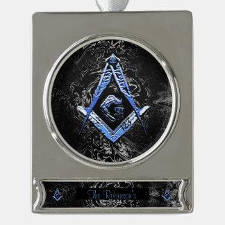 Masonic Minds (BlueSwish) Silver Plated Banner Ornament