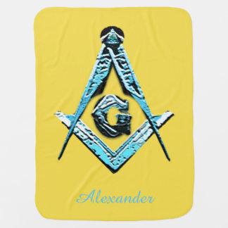 Masonic Minds (Bright Blue) Baby Blanket