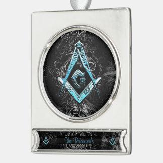 Masonic Minds (BrightBlueSwish)) Silver Plated Banner Ornament
