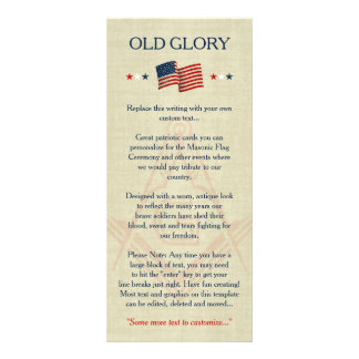 Masonic Old Glory Flag Cards, Freemason Patriotic Rack Card