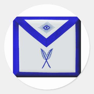 Masonic Secretary Apron Classic Round Sticker