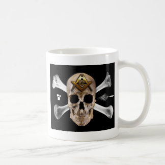 Masonic Skull & Bones Compass Square Coffee Mug