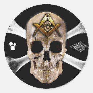 Masonic Skull & Bones Compass Square Sticker