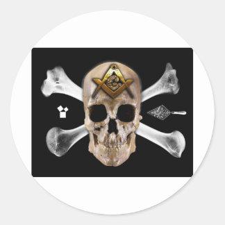 Masonic Skull & Bones Compass Square Round Sticker