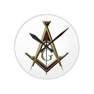 Masonic Square & Compass Round Clock