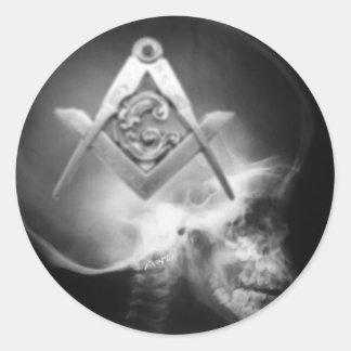 Masonic X-Ray Alien Skull Classic Round Sticker