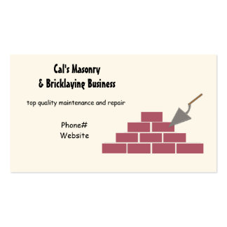 Masonry and Bricklaying Services Pack Of Standard Business Cards