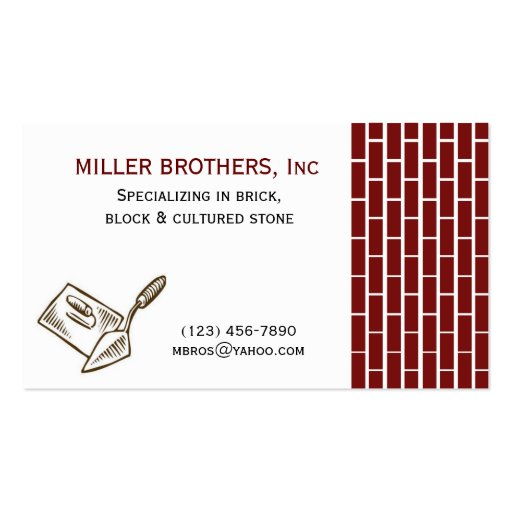 MASONRY Brick Construction Builder Business Card