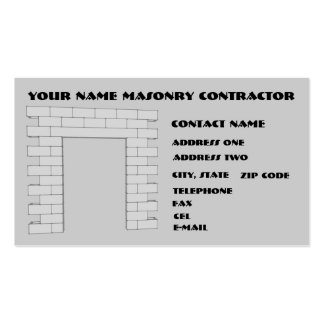 Masonry Contractor Pack Of Standard Business Cards
