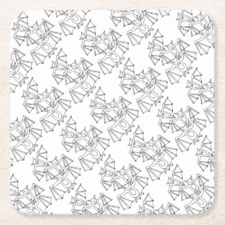 Masqarade Bats Line Art Design Square Paper Coaster