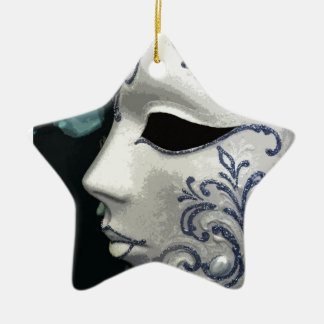 MASQUERADE 2 (blue) Ceramic Star Decoration