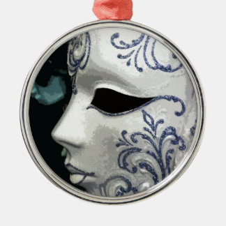 MASQUERADE 2 (blue) Silver-Colored Round Decoration