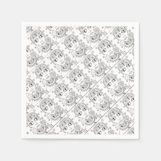Masquerade Alien Lollipop Line Art Design Disposable Napkins