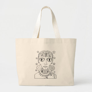 Masquerade Alien Lollipop Line Art Design Large Tote Bag