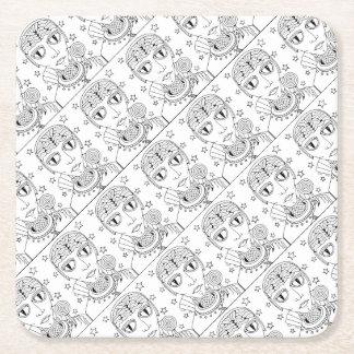 Masquerade Alien Lollipop Line Art Design Square Paper Coaster