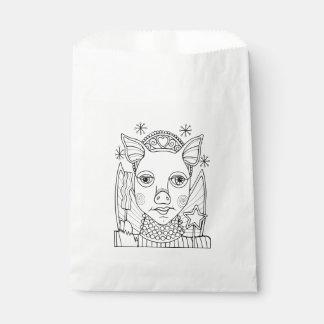 Masquerade Bacon Fairy Princess Line Art Design Favour Bag
