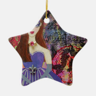 Masquerade Ball Ceramic Star Decoration