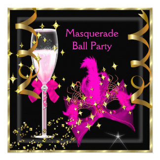 Masquerade Ball Hot-Pink Black Gold Mask Party Custom Announcements