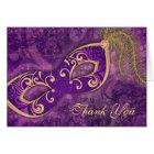 Masquerade Ball Mask Wedding Thank You Purple Card