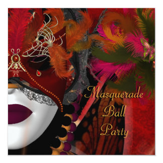 Masquerade Ball Party Mask Black Red Card