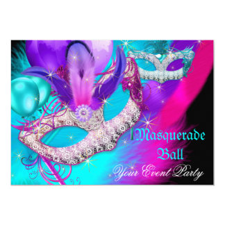 Masquerade Ball Party Masks Purple Teal Blue Pink Card