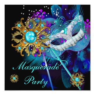 Masquerade Ball Party Teal Blue Black Masks 13 Cm X 13 Cm Square Invitation Card