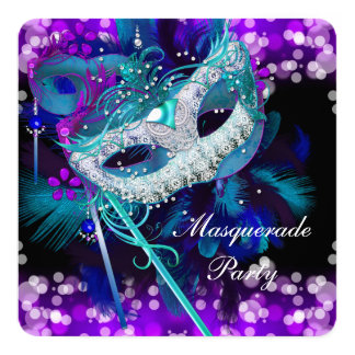 Masquerade Ball Party Teal Blue Purple Mask 2 13 Cm X 13 Cm Square Invitation Card