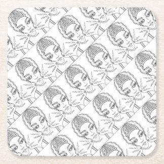 Masquerade Bride Line Art Design Square Paper Coaster