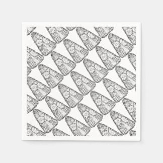 Masquerade Candy Corn Line Art Design Disposable Serviette