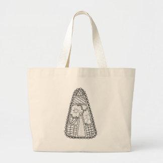 Masquerade Candy Corn Line Art Design Large Tote Bag