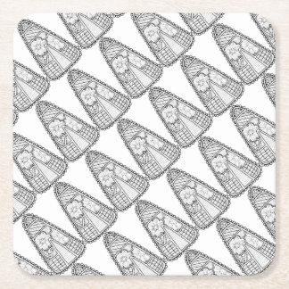 Masquerade Candy Corn Line Art Design Square Paper Coaster
