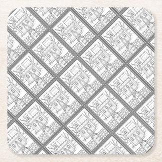 Masquerade Castle Line Art Design Square Paper Coaster