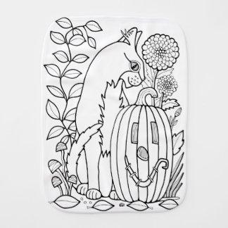 Masquerade Cat Pumpkin Line Art Design Burp Cloth