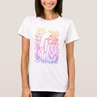 Masquerade Cat Pumpkin Line Art Design T-Shirt