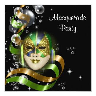 Masquerade costume mask PERSONALIZE 5.25x5.25 Square Paper Invitation Card
