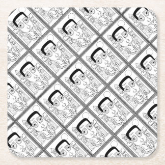 Masquerade Frank Line Art Design Square Paper Coaster