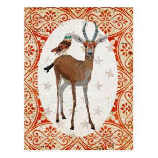 Masquerade Gazelle & Owl Postcard