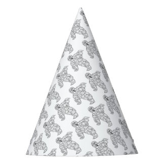 Masquerade Ghost Line Art Design Party Hat
