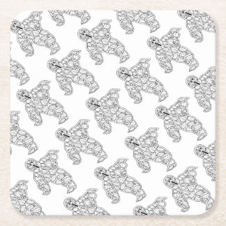 Masquerade Ghost Line Art Design Square Paper Coaster
