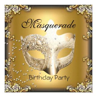Masquerade Gold Black Birthday Party 13 Cm X 13 Cm Square Invitation Card