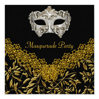 Masquerade Gold Black Hot Glamour Birthday Party 13 Cm X 13 Cm Square Invitation Card